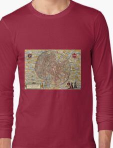 Leuven(2) Vintage map.Geography Belgium ,city view,building,political,Lithography,historical fashion,geo design,Cartography,Country,Science,history,urban Long Sleeve T-Shirt