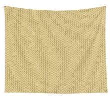 Yellow hand drawn knitting braids pattern Wall Tapestry