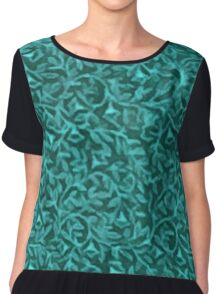 Retro Floral Evergreen Teal Chiffon Top
