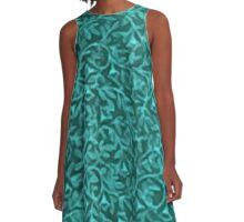 Retro Floral Evergreen Teal A-Line Dress