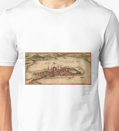Lindau Vintage map.Geography Germany ,city view,building,political,Lithography,historical fashion,geo design,Cartography,Country,Science,history,urban Unisex T-Shirt