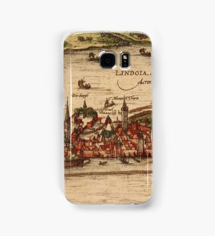 Lindau Vintage map.Geography Germany ,city view,building,political,Lithography,historical fashion,geo design,Cartography,Country,Science,history,urban Samsung Galaxy Case/Skin
