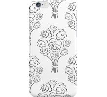 Rose bouquet seamless pattern. Hand drawn outline background. Flower sketch wallpaper. iPhone Case/Skin