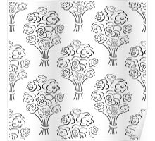 Rose bouquet seamless pattern. Hand drawn outline background. Flower sketch wallpaper. Poster