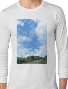 Natural scenery with mountains and cloudy sky. Long Sleeve T-Shirt