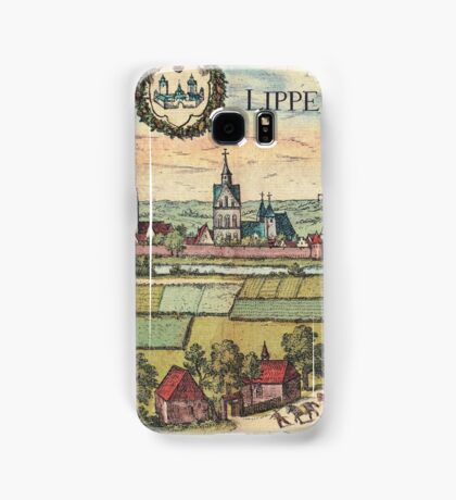 Lippstadt Vintage map.Geography Germany ,city view,building,political,Lithography,historical fashion,geo design,Cartography,Country,Science,history,urban Samsung Galaxy Case/Skin