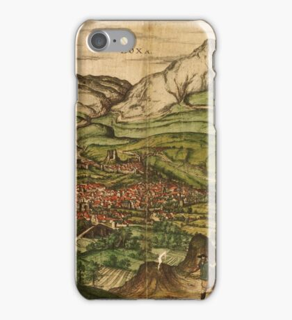 Loja Vintage map.Geography Spain ,city view,building,political,Lithography,historical fashion,geo design,Cartography,Country,Science,history,urban iPhone Case/Skin
