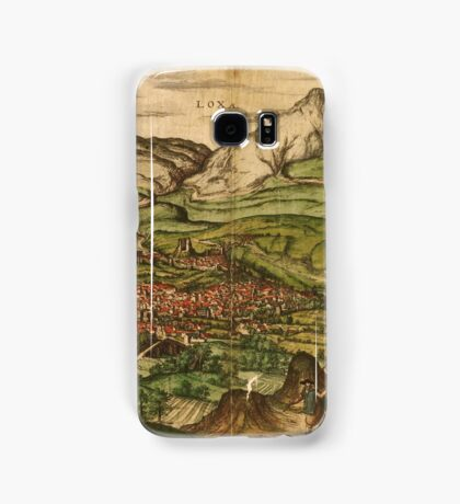 Loja Vintage map.Geography Spain ,city view,building,political,Lithography,historical fashion,geo design,Cartography,Country,Science,history,urban Samsung Galaxy Case/Skin