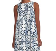 Vintage Flowers Navy Blue and White A-Line Dress