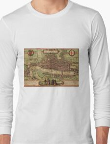 London Vintage map.Geography Great Britain ,city view,building,political,Lithography,historical fashion,geo design,Cartography,Country,Science,history,urban Long Sleeve T-Shirt