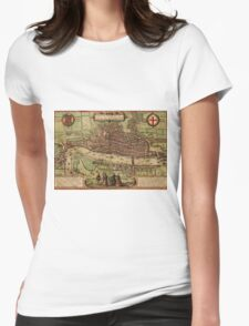 London Vintage map.Geography Great Britain ,city view,building,political,Lithography,historical fashion,geo design,Cartography,Country,Science,history,urban Womens Fitted T-Shirt
