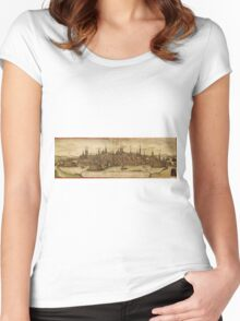 Lubeck Vintage map.Geography Germany ,city view,building,political,Lithography,historical fashion,geo design,Cartography,Country,Science,history,urban Women's Fitted Scoop T-Shirt