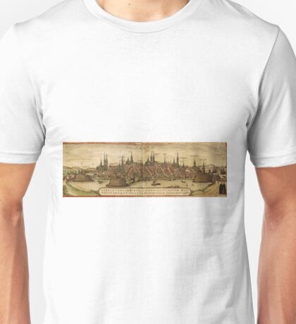 Lubeck Vintage map.Geography Germany ,city view,building,political,Lithography,historical fashion,geo design,Cartography,Country,Science,history,urban Unisex T-Shirt