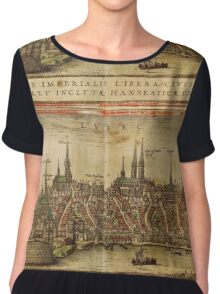 Lubeck Vintage map.Geography Germany ,city view,building,political,Lithography,historical fashion,geo design,Cartography,Country,Science,history,urban Chiffon Top