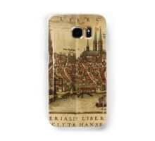 Lubeck Vintage map.Geography Germany ,city view,building,political,Lithography,historical fashion,geo design,Cartography,Country,Science,history,urban Samsung Galaxy Case/Skin