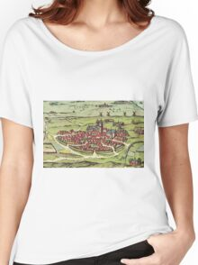 Lund Vintage map.Geography Sweden ,city view,building,political,Lithography,historical fashion,geo design,Cartography,Country,Science,history,urban Women's Relaxed Fit T-Shirt