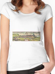 Loreto Vintage map.Geography Italy ,city view,building,political,Lithography,historical fashion,geo design,Cartography,Country,Science,history,urban Women's Fitted Scoop T-Shirt