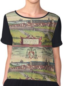 Loreto Vintage map.Geography Italy ,city view,building,political,Lithography,historical fashion,geo design,Cartography,Country,Science,history,urban Chiffon Top