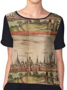 Lunenburg Vintage map.Geography Germany ,city view,building,political,Lithography,historical fashion,geo design,Cartography,Country,Science,history,urban Chiffon Top