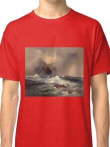 Thomas Moran - Fingal's Cave, Island Of Staffa, Scotland 1884. Sea landscape: sea view, Island,  Scotland, sailing boat, coast seaside, waves and beach, marine, seascape, sun clouds, nautical, ocean Classic T-Shirt