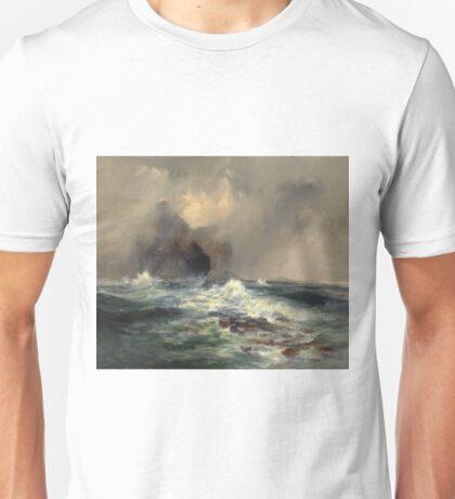 Thomas Moran - Fingal's Cave, Island Of Staffa, Scotland 1884. Sea landscape: sea view, Island,  Scotland, sailing boat, coast seaside, waves and beach, marine, seascape, sun clouds, nautical, ocean Unisex T-Shirt