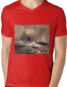 Thomas Moran - Fingal's Cave, Island Of Staffa, Scotland 1884. Sea landscape: sea view, Island,  Scotland, sailing boat, coast seaside, waves and beach, marine, seascape, sun clouds, nautical, ocean Mens V-Neck T-Shirt