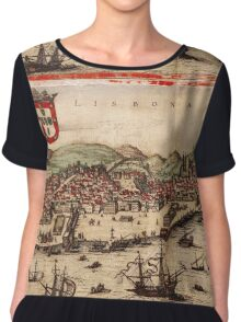 Lisbon Vintage map.Geography Portugal ,city view,building,political,Lithography,historical fashion,geo design,Cartography,Country,Science,history,urban Chiffon Top