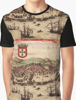 Lisbon Vintage map.Geography Portugal ,city view,building,political,Lithography,historical fashion,geo design,Cartography,Country,Science,history,urban Graphic T-Shirt