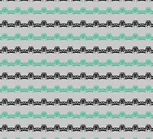Black and Mint Pointy Lines Pattern by StudioBlack