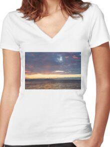Just Before Sunrise - Toronto's Skyline Silhouette Women's Fitted V-Neck T-Shirt