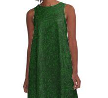 Vintage Floral Forest Green A-Line Dress