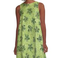 Vintage Floral Green Flowers A-Line Dress
