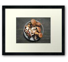 Boletus mushrooms on the plate Framed Print