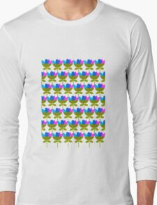 Flower Squad in blue and pink Long Sleeve T-Shirt
