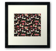 Dancing Horse with Red Rose Flower in Black Background Pattern Framed Print