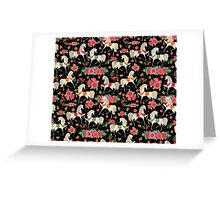 Dancing Horse with Red Rose Flower in Black Background Pattern Greeting Card