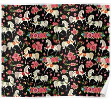 Dancing Horse with Red Rose Flower in Black Background Pattern Poster