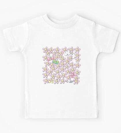 Yellow hearted flowers Kids Tee