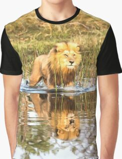 Lion in River with Reflection Graphic T-Shirt