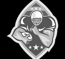 American Football Player Running Grayscale by patrimonio