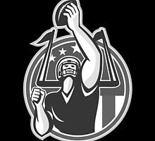 American Football Player Raising Ball Grayscale by patrimonio
