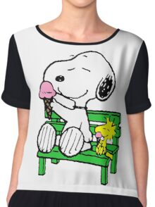 Snoopy and Woodstock Ice Cream Chiffon Top