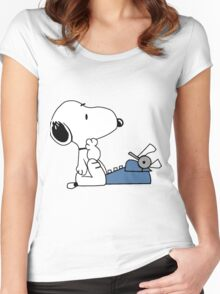 Snoopy Writes Women's Fitted Scoop T-Shirt