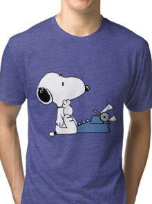 Snoopy Writes Tri-blend T-Shirt