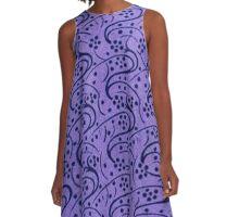 Vintage Floral Periwinkle Purple A-Line Dress