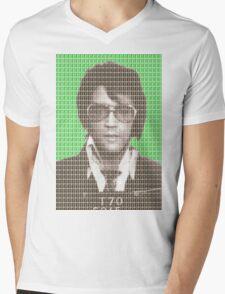 Elvis Mug Shot - Green Mens V-Neck T-Shirt