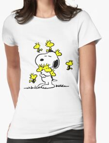 Woodstock loves Snoopy Womens Fitted T-Shirt