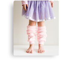 Little girl in pink leg warmers Canvas Print