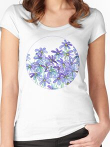 Purple Daisies in Watercolor & Colored Pencil  Women's Fitted Scoop T-Shirt