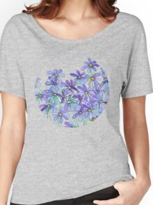 Purple Daisies in Watercolor & Colored Pencil  Women's Relaxed Fit T-Shirt